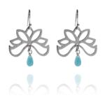 Half Bloom amazonite silver earrings A