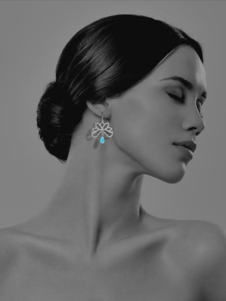 Half Bloom amazonite silver earrings